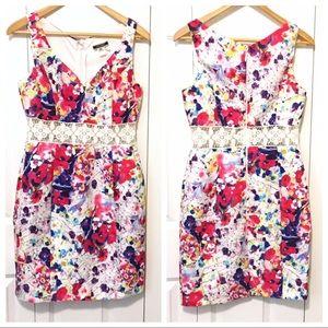 NikiBiki Floral Sheath Dress Lace Waist Sz Medium